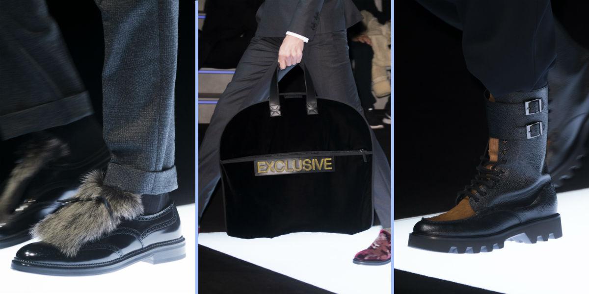 Accessori maschili (due modelli di calzatura e una borsa) Emporio Armani, #wearsEA collezione autunno inverno 2018-2019
