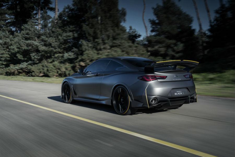 """Infiniti Project Black S: Dinamica del posteriore. L'ala ha un profilo aerodinamico simile all'ala """"Monza"""" del Team Renault Sport di Formula Uno"""