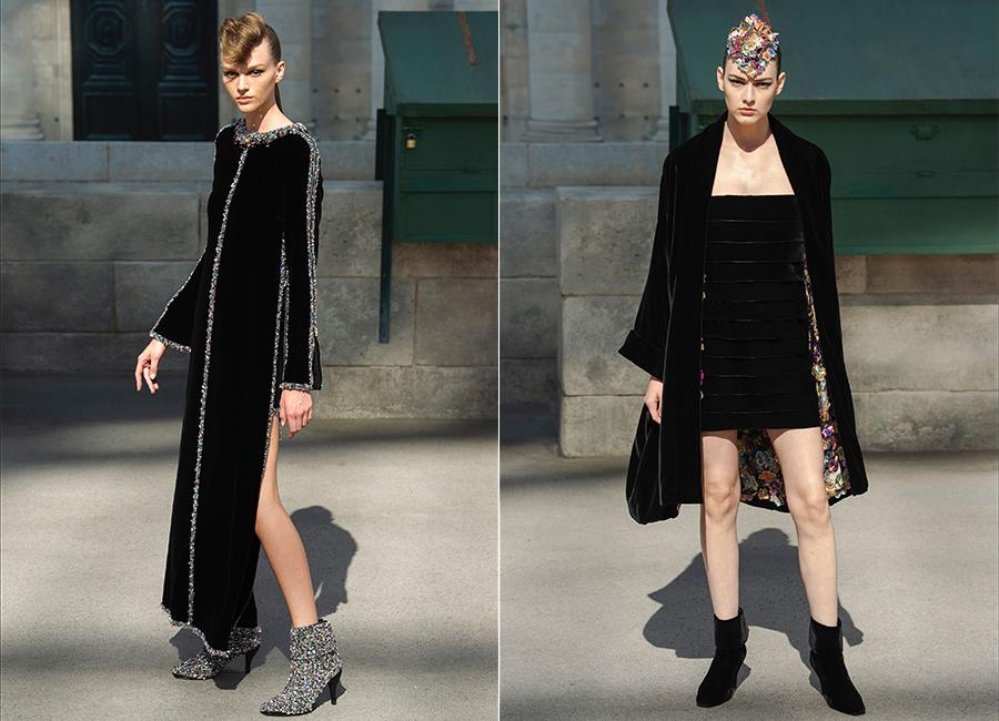 Moda Velluto - i look couture per l'autunno inverno 2018/2019: nell'immagine 2 proposte di abiti in velluto di Chanel