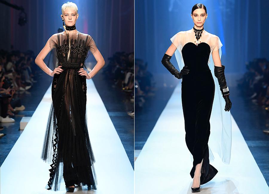 Moda Velluto - i look couture per l'autunno inverno 2018/2019: nell'immagine 2 proposte di abiti in velluto di Jean Paul Gaultier