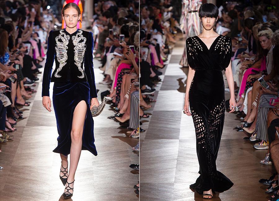 Moda Velluto - i look couture per l'autunno inverno 2018/2019: nell'immagine 2 proposte di abiti in velluto di Elsa Schiaparelli