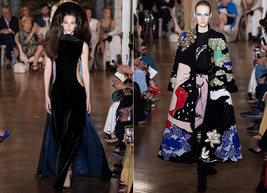 Moda Velluto - i look couture per l'autunno inverno 2018/2019: nell'immagine 2 proposte di abiti in velluto di Valentino