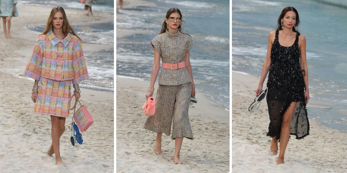 Paris Fashion Week 2018 - tre modelle indossano abiti della collezione SS 2019 di Chanel