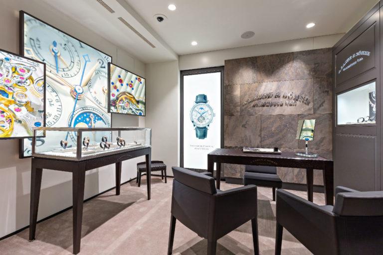 Uno scorcio interno della boutique A. Lange & Söhne e Pisa Orologeria