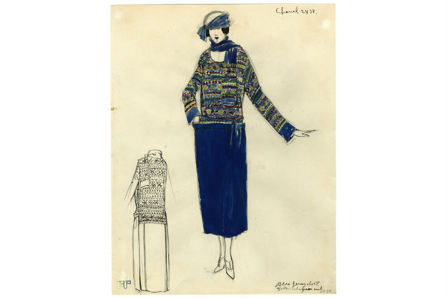 Gouache - 1922 – Il bozzetto riproduce un capo realizzato con i ricami della Maison russa Kitmir per Chanel.