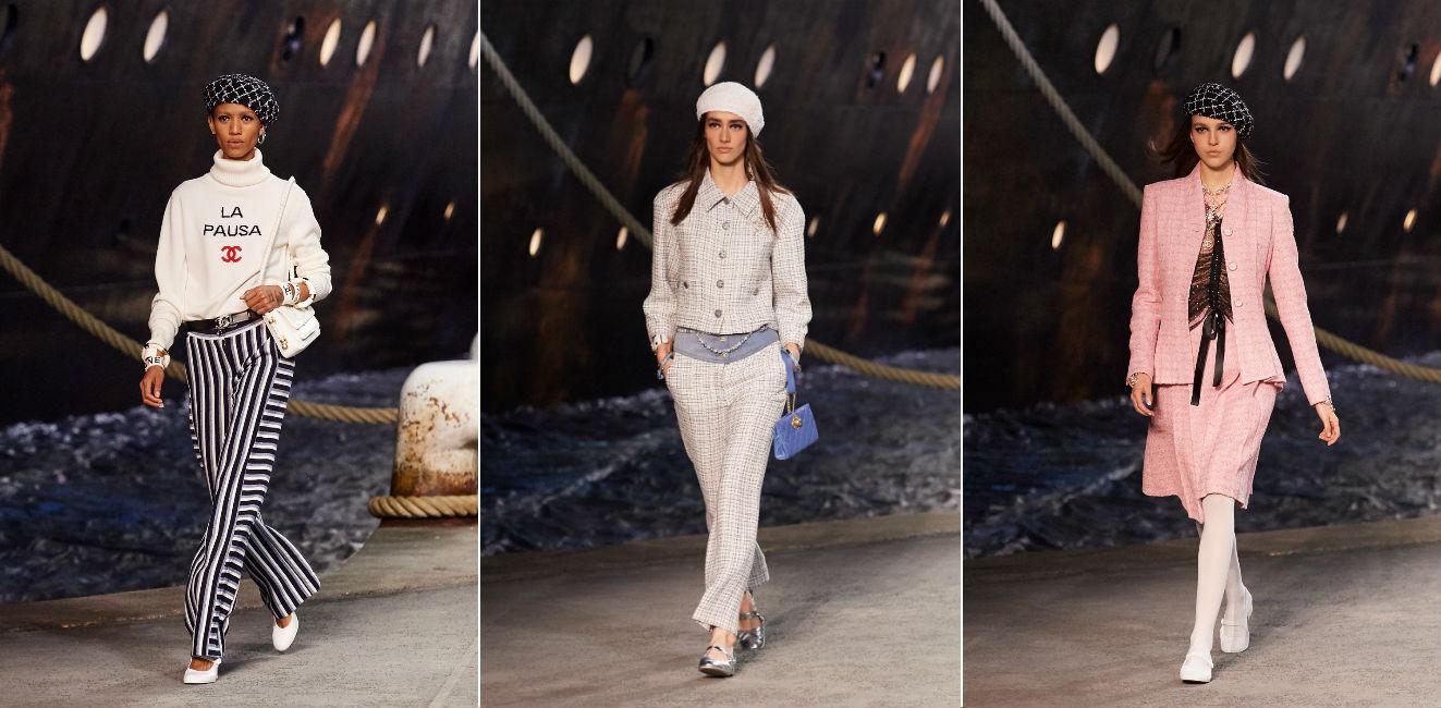 Tre modelle in abiti della collezione Chanel Cruise 2019