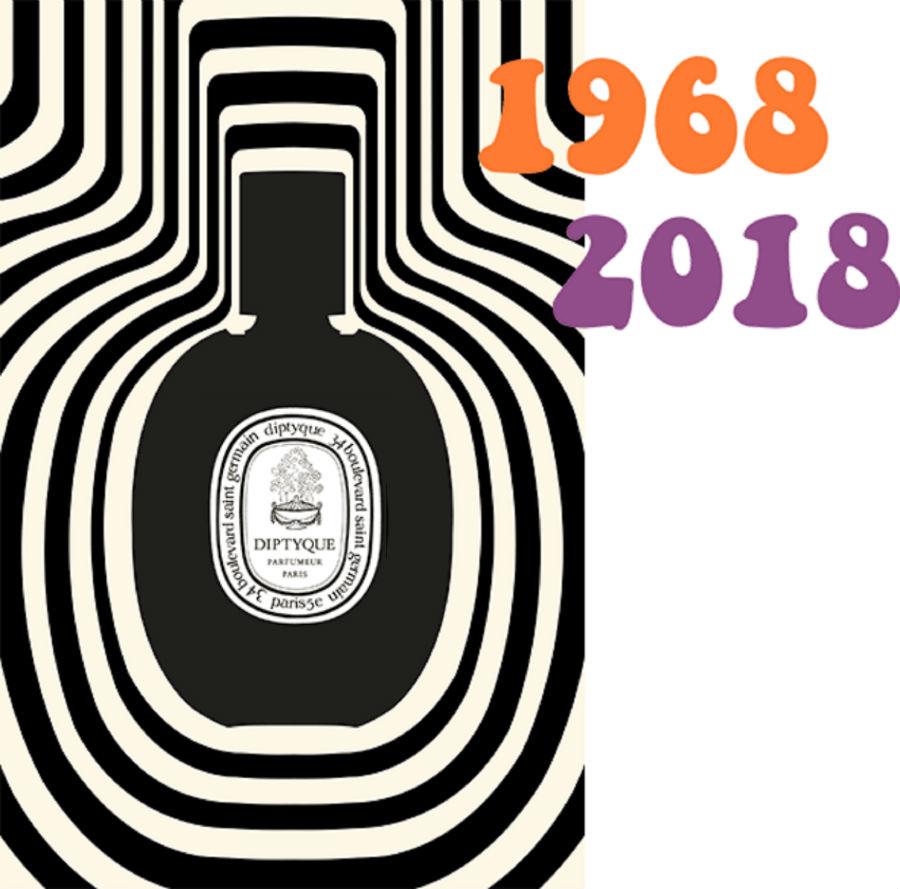 locandina con immagine del profumo Eau Diptyque e gli anni 1968 e 2018 - Courtesy Diptyque