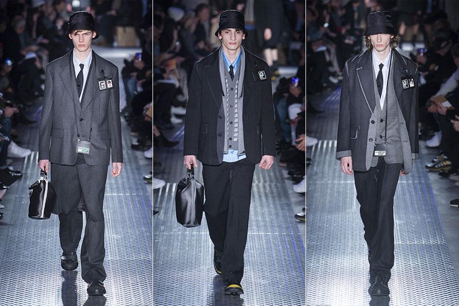 Made to Measure: nell'immagine modelli di abiti su misura da uomo di Prada