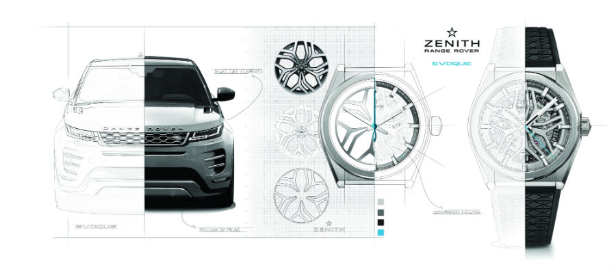 Un bozzetto che mostra le commistioni di stile tra vettura e orologio. In particolare il design dei cerchioni è stato fonte di ispirazione per dar vita al quadrante scheletrato del Defy Classic.