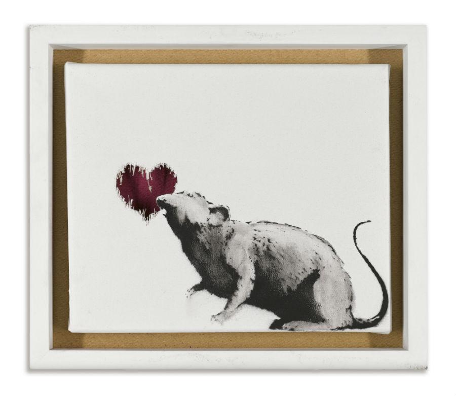 Banksy in mostra al MUDEC di Milano: Autore: Banksy - Titolo: Rat and Heart - Anno: 2015 - Credito fotografico: © Artificial Gallery, Antwerp