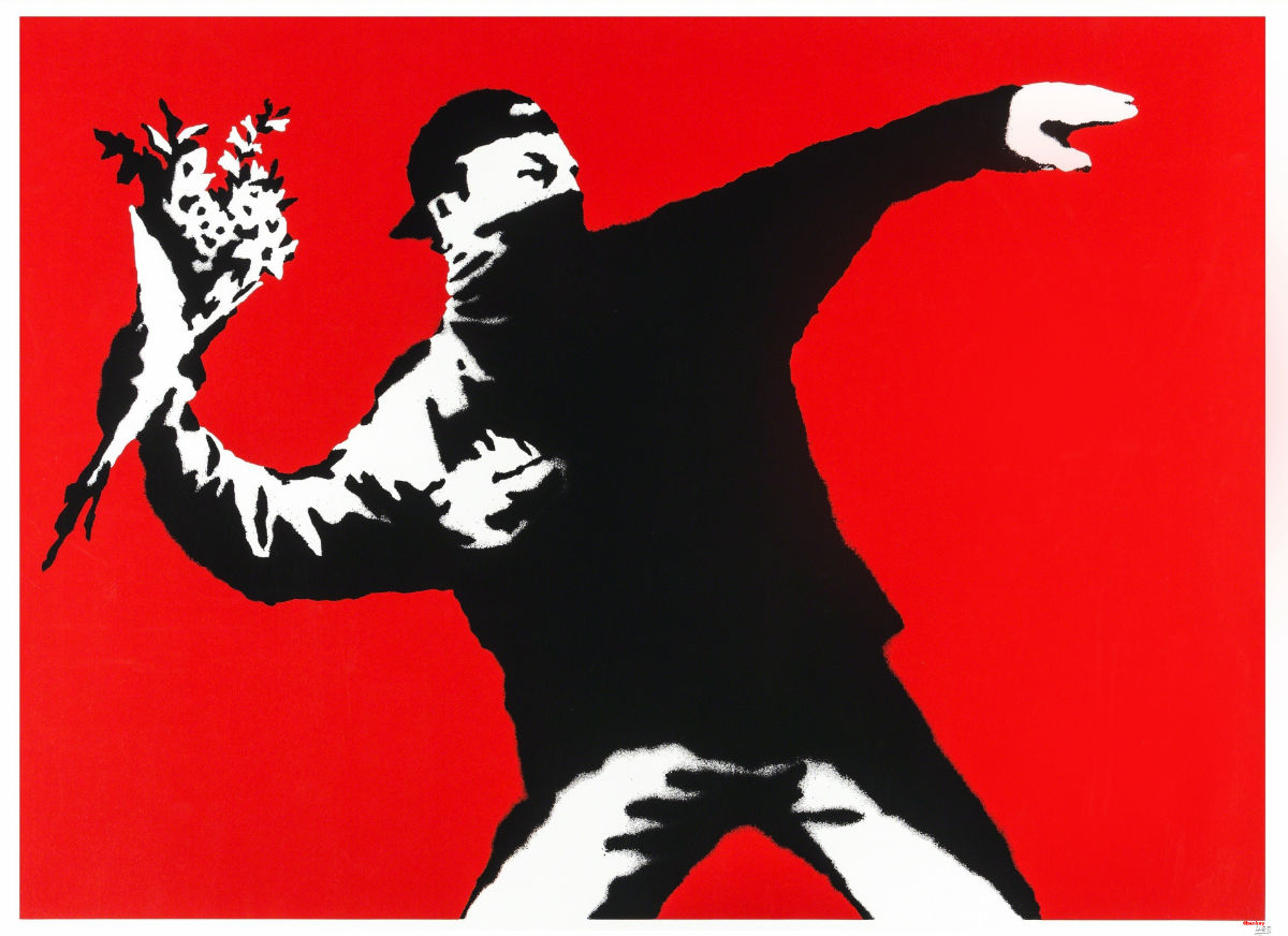 Banksy in mostra al MUDEC di Milano: Autore: Banksy Titolo opera: Love Is In the Air (Flower Thrower) - Credito fotografico: Butterfly Art News Collection