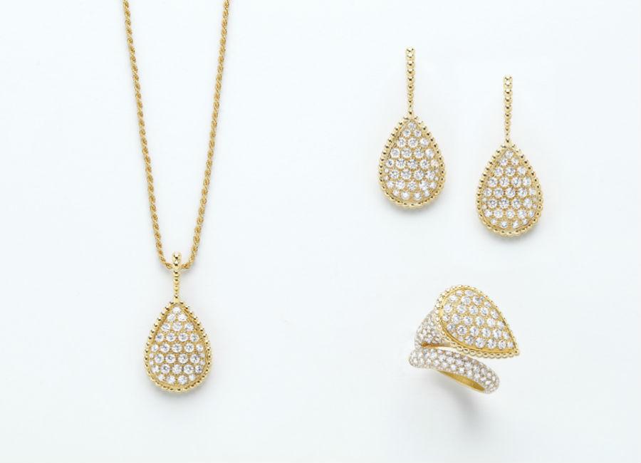Boucheron Gioielli - Serpent Bohème – Anello, orecchini e pendente nella versione in oro giallo e pavé di diamanti.