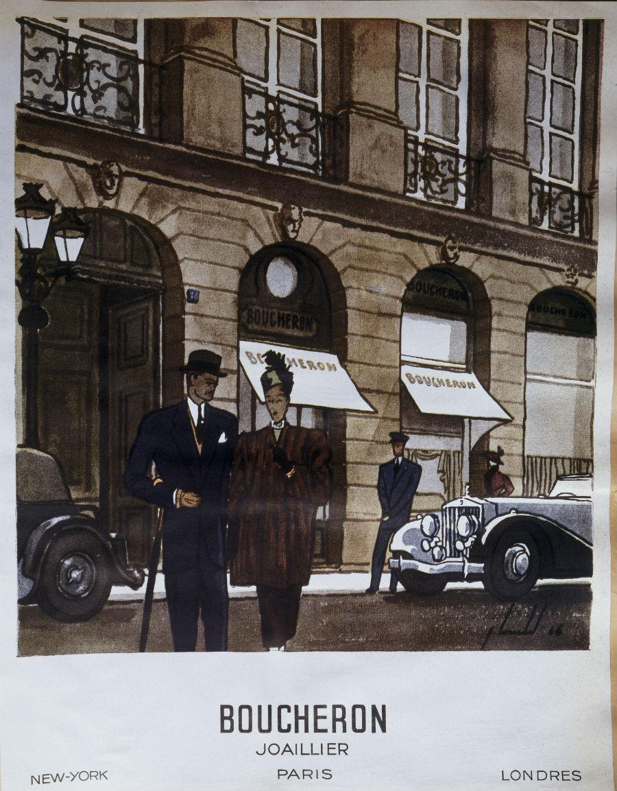 Boucheron Gioielli- Una pubblicità del 1946 ritrae la sede al 26 di Place Vendôme. Per celebrare il suo 160esimo anniversario, Boucheron, grazie al sostegno del gruppo Kering di cui fa parte, ha eseguito il restauro radicale dell'hotel Particulier che dal 1893 ospitava la Maison, l'atelier e la residenza di famiglia.