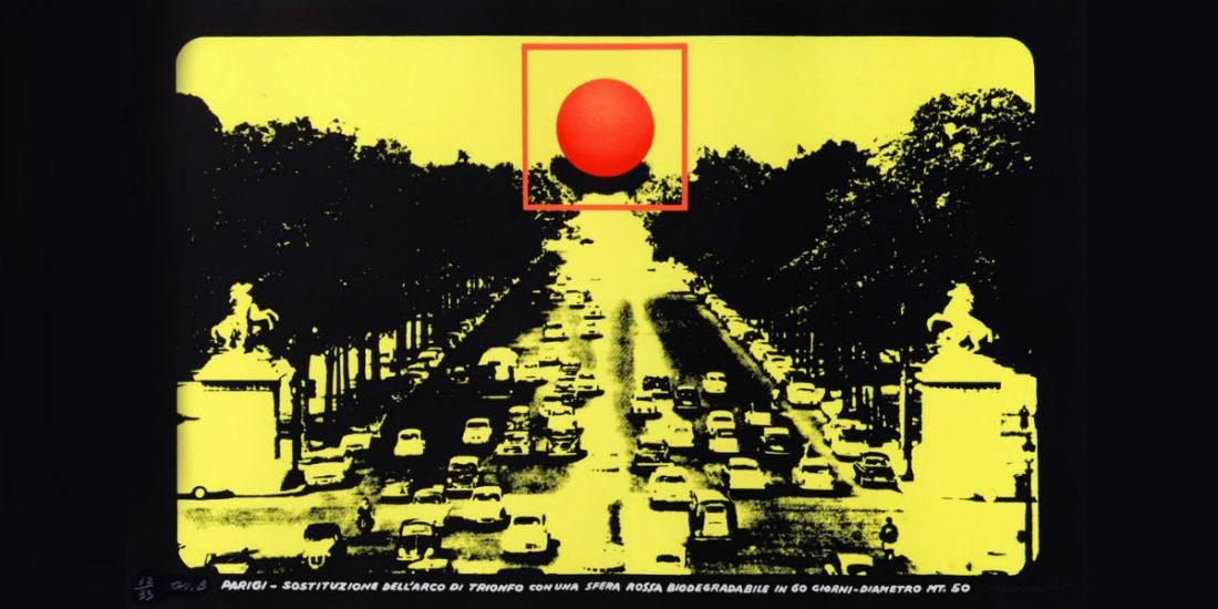 Gli anni 80 in mostra a Milano: Filippo Panseca, Progetto per monumento biodegradabile, 1976 tela emulsionata e smalto