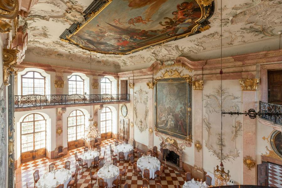 La Sala dei Marmi all'interno dello Schloss - Credits Hotel Schloss Leopoldskron