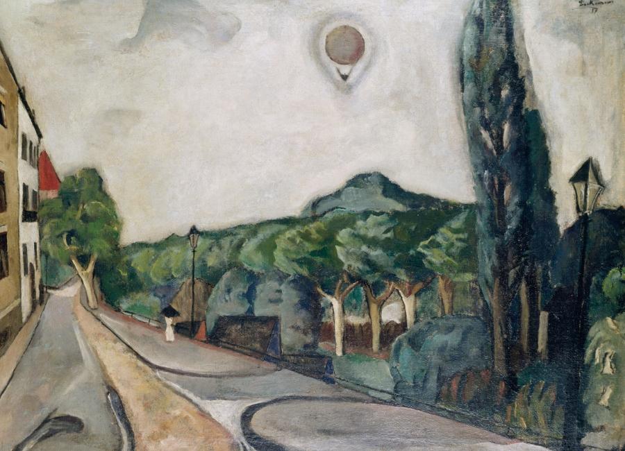 Max Beckmann - Paesaggio con mongolfiera 1917, olio su tela 75.5 x 100.5 cm - Museum Ludwig, Köln/Ankauf 1954 © 2018, ProLitteris, Zurich