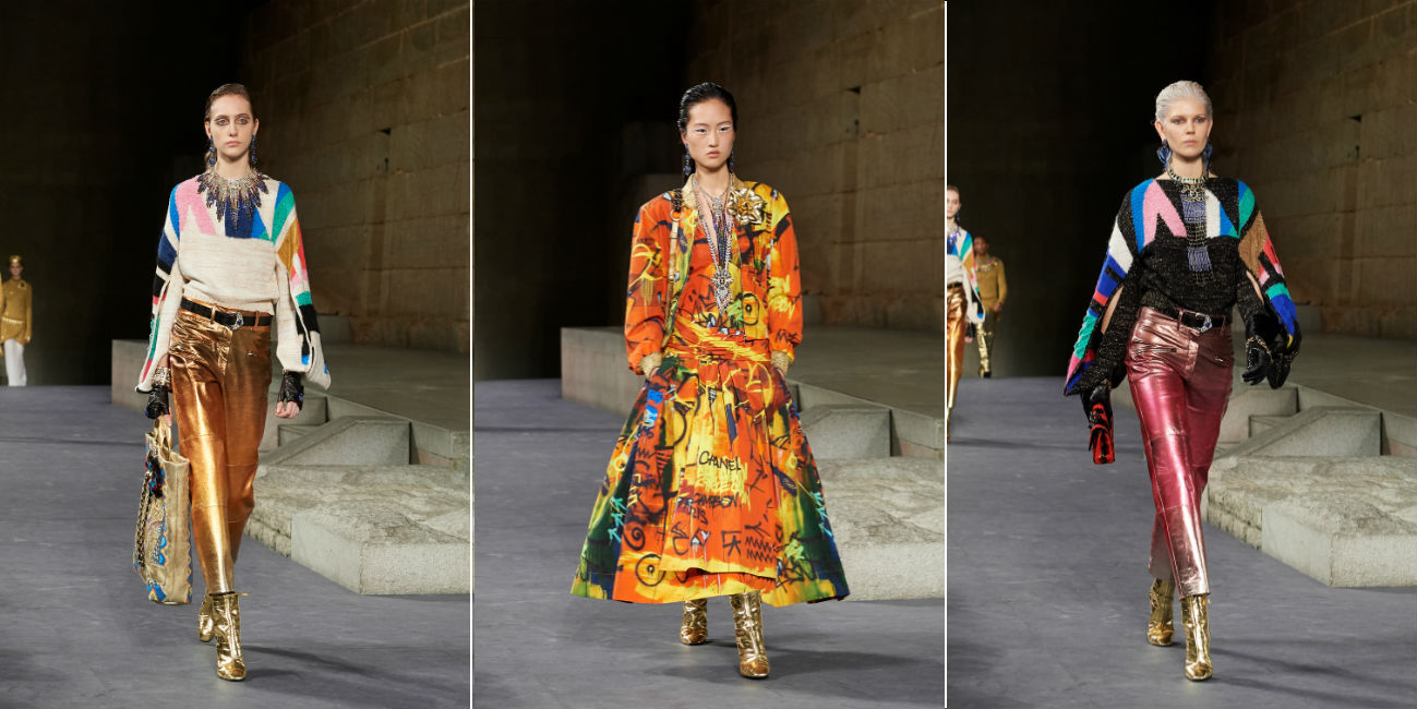 Métiers d'Art di Chanel: modelle durante la sfilata al Met di New York