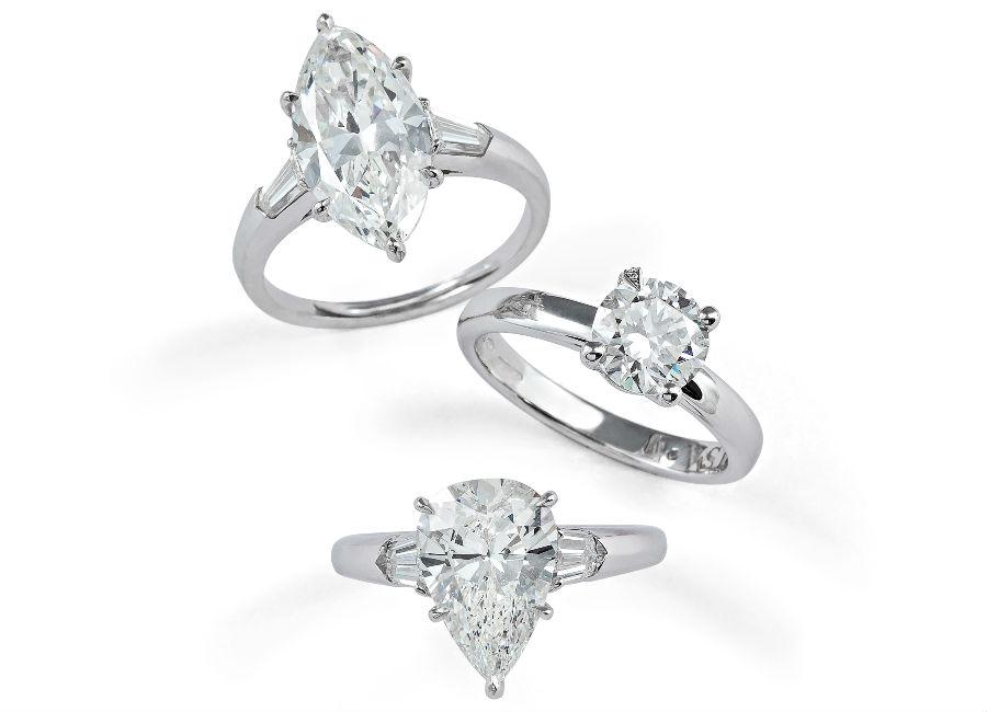 Pisa Diamanti – Nella foto tre anelli con diamanti taglio brillante, marquise e a goccia.