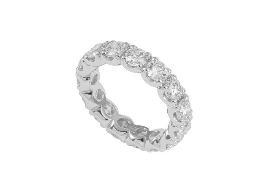Pisa Diamanti – Anello a fedina con diamanti taglio rotondo.