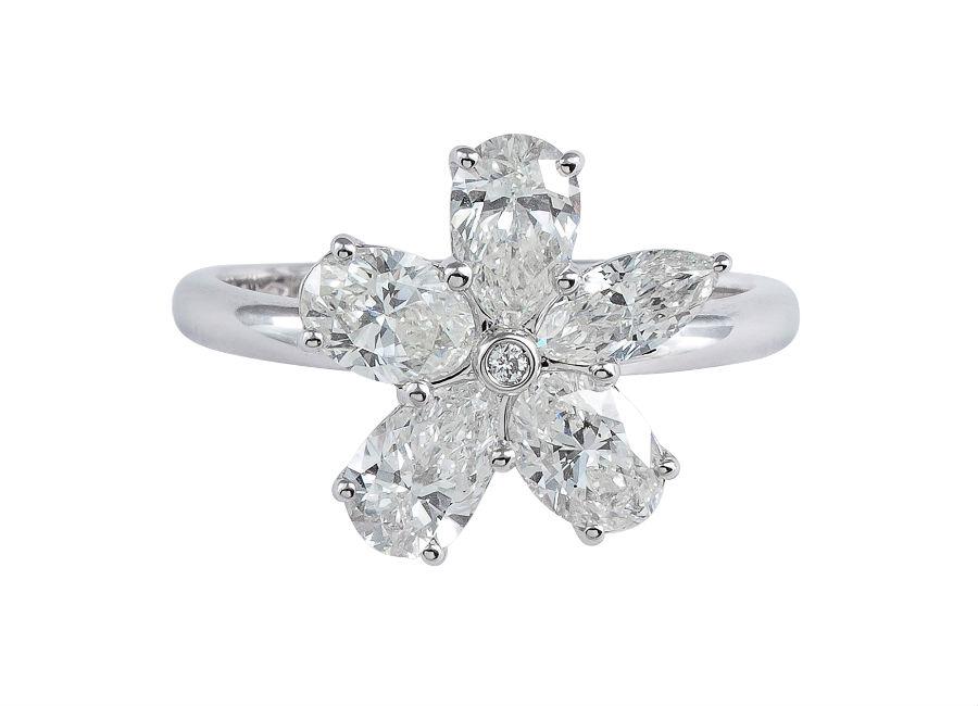 Pisa Diamanti – Anello a forma di fiore con diamanti dal taglio ovale