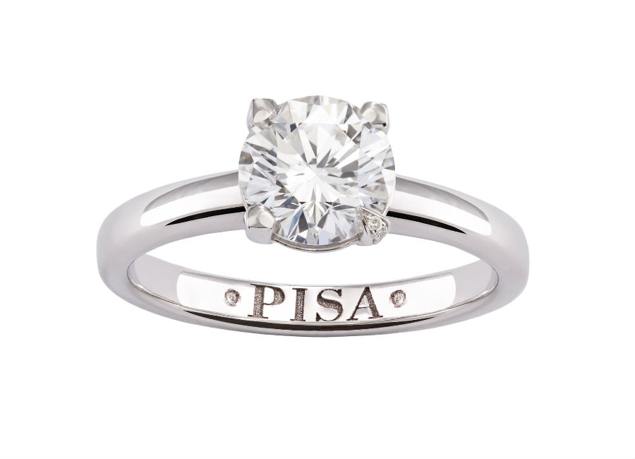 Pisa Diamanti –Anello a solitario con diamante taglio rotondo.