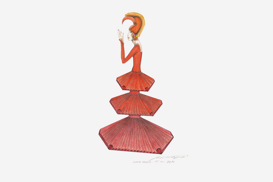 """Roberto Capucci, disegno preparatorio per abito """"Xi'an"""", Xi'an 2010"""