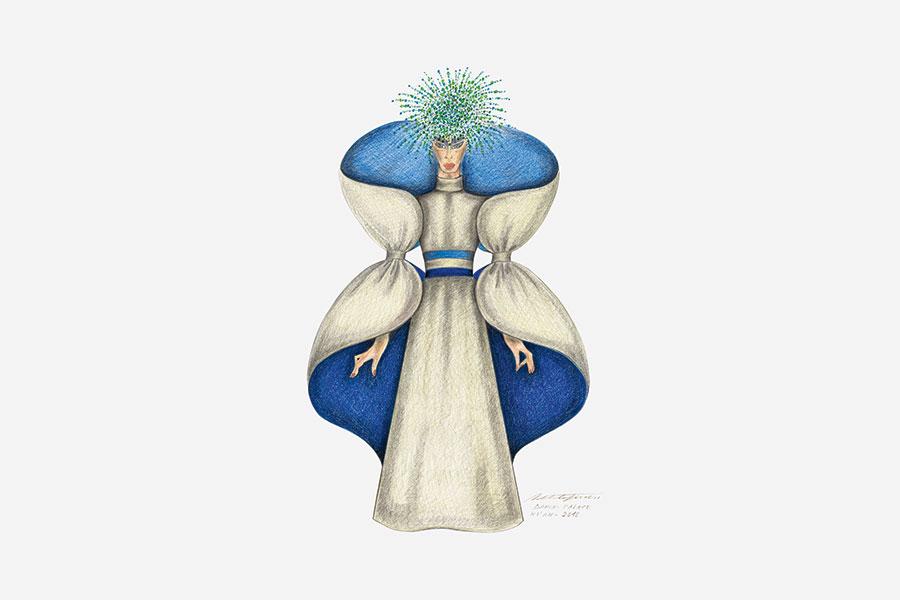 "Roberto Capucci, disegno preparatorio per abito ""Chang Jiang"", Xi'an 2010"