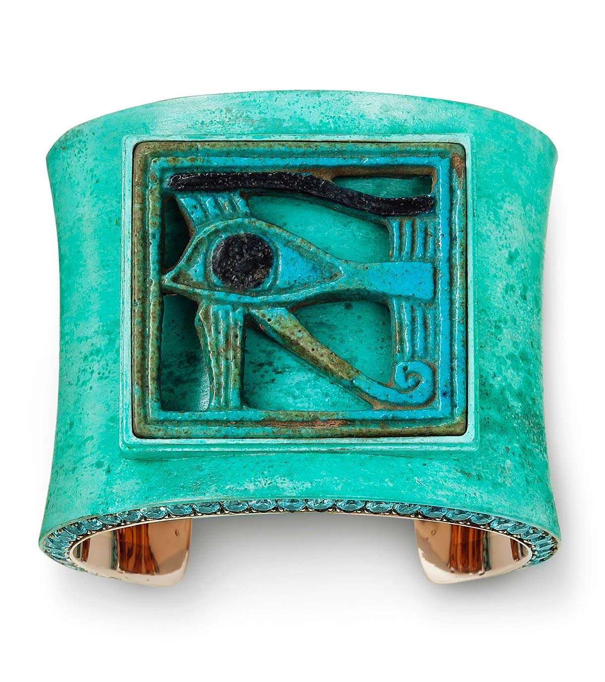 Tefaf Maastricht 2019: Hemmerle 'Eye of Horus' bangle, Ancient Egyptian faience, zircons, bronze and white gold, courtesy Hemmerle