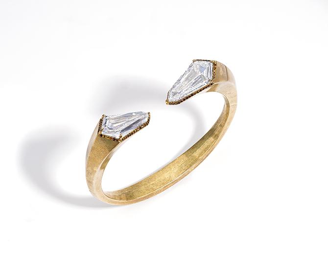 """Maison G – Glenn Spiro - Bracciale in ottone con diamanti taglio """"aquilone"""" e diamanti arancio marroni."""