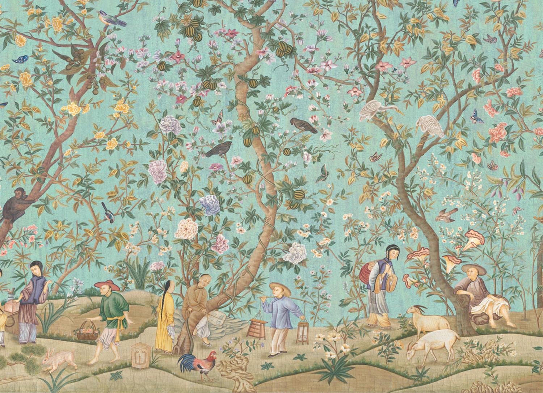 Iksel carte da parati Qianglong Garden crackled Turquoise