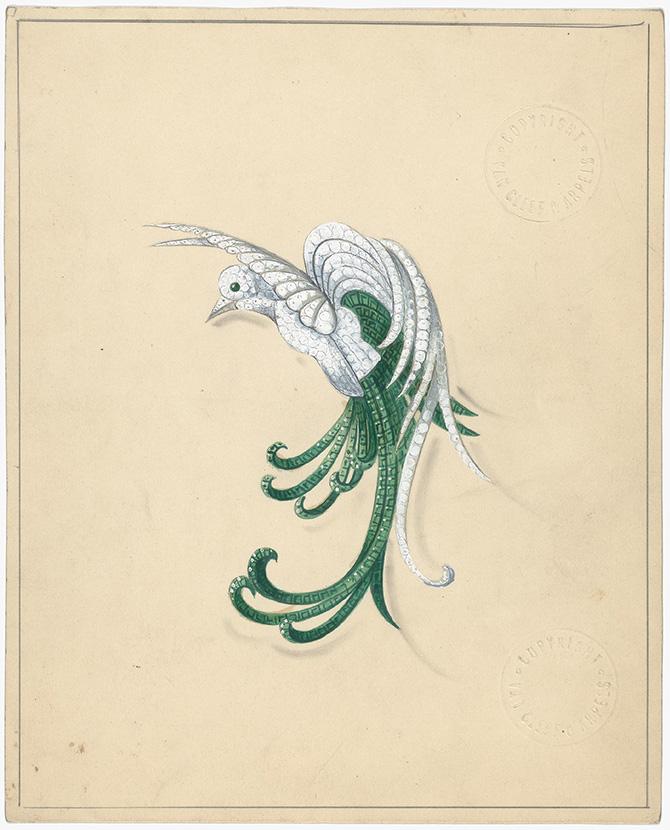 """Van Cleef & Arpels, Disegno per la spilla """"uccello del paradiso"""", 1942"""