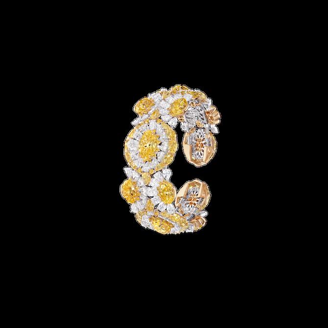 David Morris - Bracciale flessibile in oro bianco con diamanti Fancy Vivid