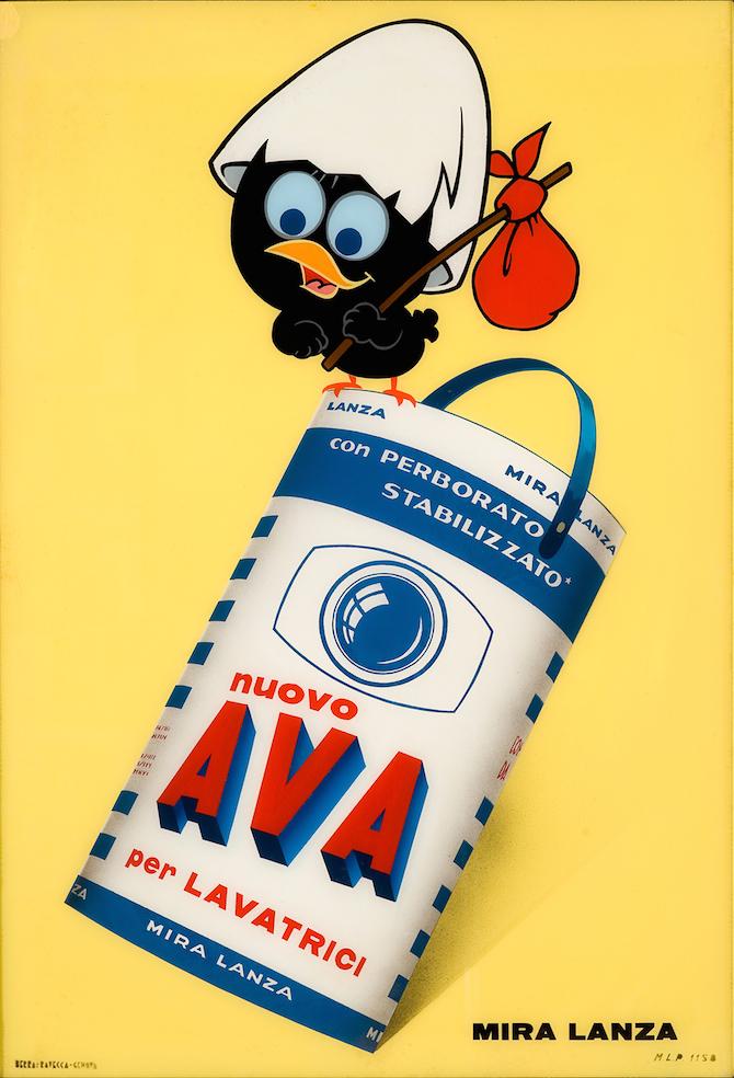 Produzione Pagot Calimero pubblicità per Ava Mira Lanza 1965 vetrofania Collezione-Galleria LIMAGE Alassio-SV