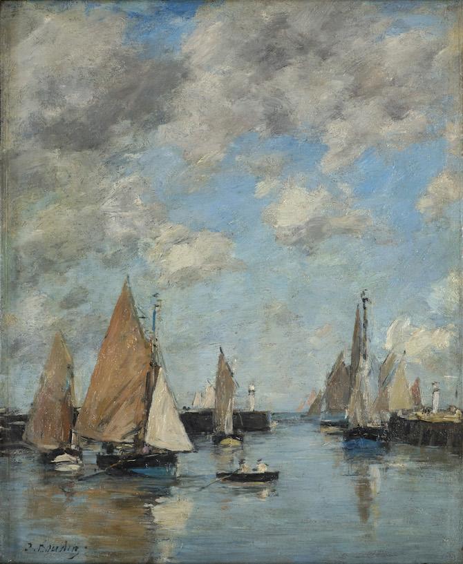 Eugène Boudin Trouville, il molo con l'alta marea, 1888-1895 ca.Olio su tavola, 27x21,8 cmCollection Association Peindre en Normandie, Caen