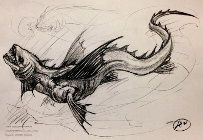 """Studio per il drago de """"Il racconto dei racconti"""": disegno di Leonardo Cruciano"""