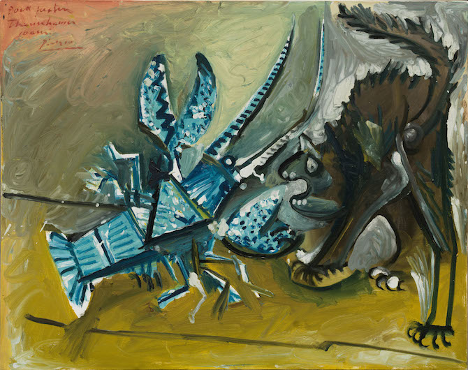 Pablo Picasso Lobster and Cat ( Le homard et le chat ) January 11, 1965 Oil on canvas 28 3/4 x 36 1/4 inches (73 x 92 cm) Solomon R. Guggenheim Museum, New York Thannhauser Collection, Bequest, Hilde Thannhauser, 1991 91.3916 © 2017 Estate of Pablo Picasso / Artists Rights Society (ARS), New York Painting School of Paris Photo taken 01/2016