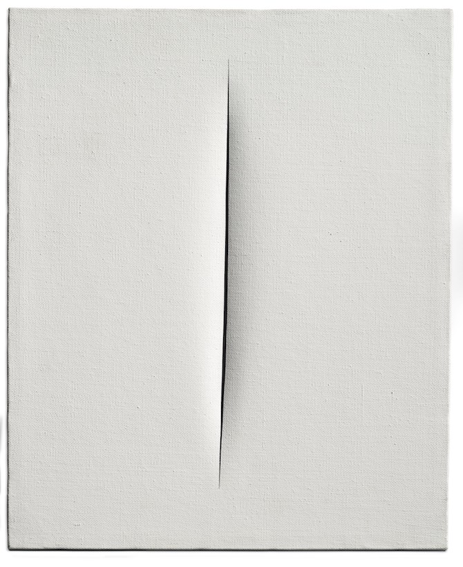 Lucio Fontana (1899-1968) Concetto spaziale, Attesa. Waterpaint on canvas 24. 1/8 x 19. 5/8in. (61.3 x 50cm.). Painted in 1964 – Photo Credit: © Christie's Images Limited 2019