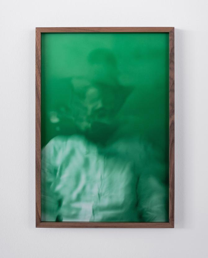 Francesco Gennari, Autoritratto su menta (con camicia bianca), 2019, 45 x 30,5 cm (framed) Inkjet print on 100% cotton paper on Dibond, walnut wood frame Photo: Francesco Gennari