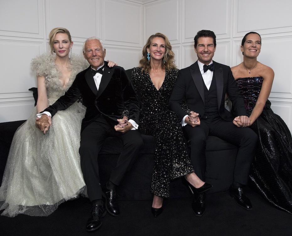 Cate Blanchett, Giorgio Armani, Julia Roberts, Tom Cruise, Roberta Armani Photocredit Getty Images/ Courtesy Giorgio Armani
