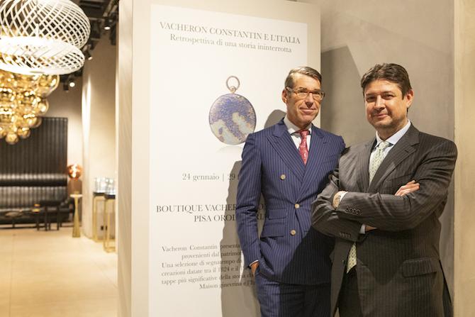 Christian Selmoni, Style and Heritage Director e Marco Pagani, brand Manager Italia di Vacheron Constantin.
