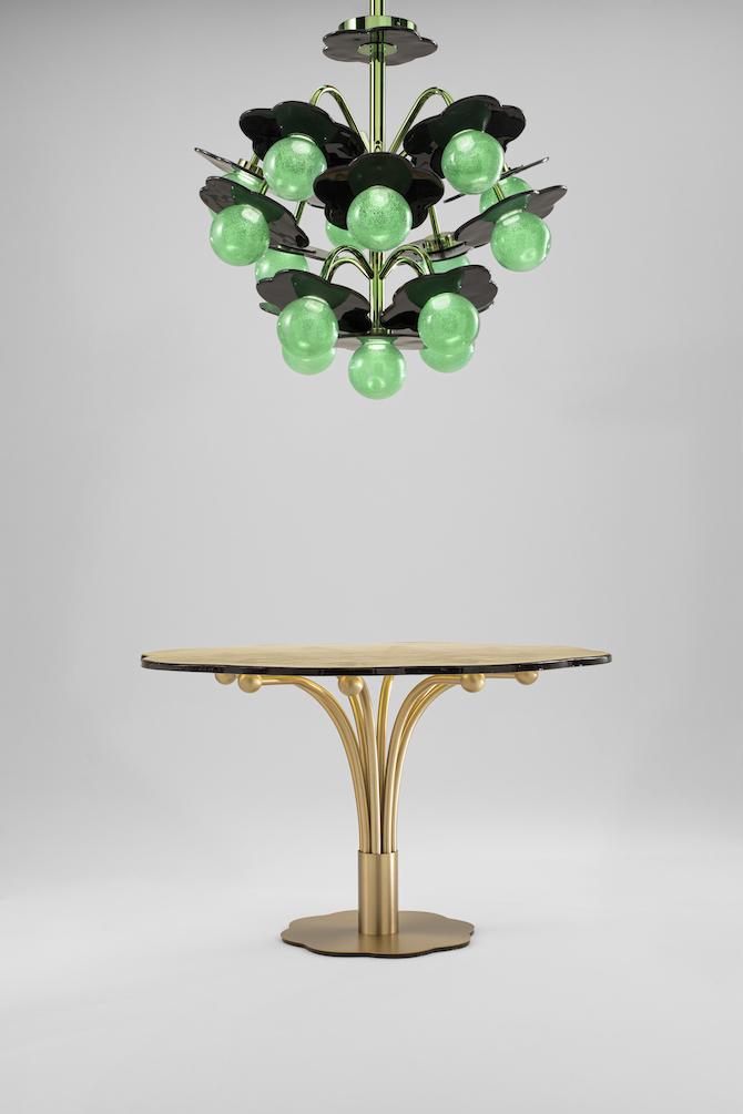 India Mahdavi, Clover Chandelier & Pistil Table – Photo Credit: WonderGlass