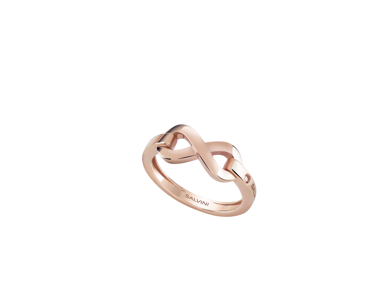 Salvini, collezione Infinito, anello in oro rosa e anello in oro bianco e diamanti.