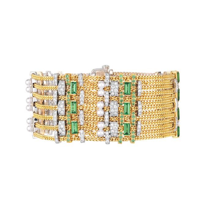 Tweed De Chanel, bracciale Tweed Chaîne in oro giallo, platino, perle coltivate, tsavoriti e diamanti.