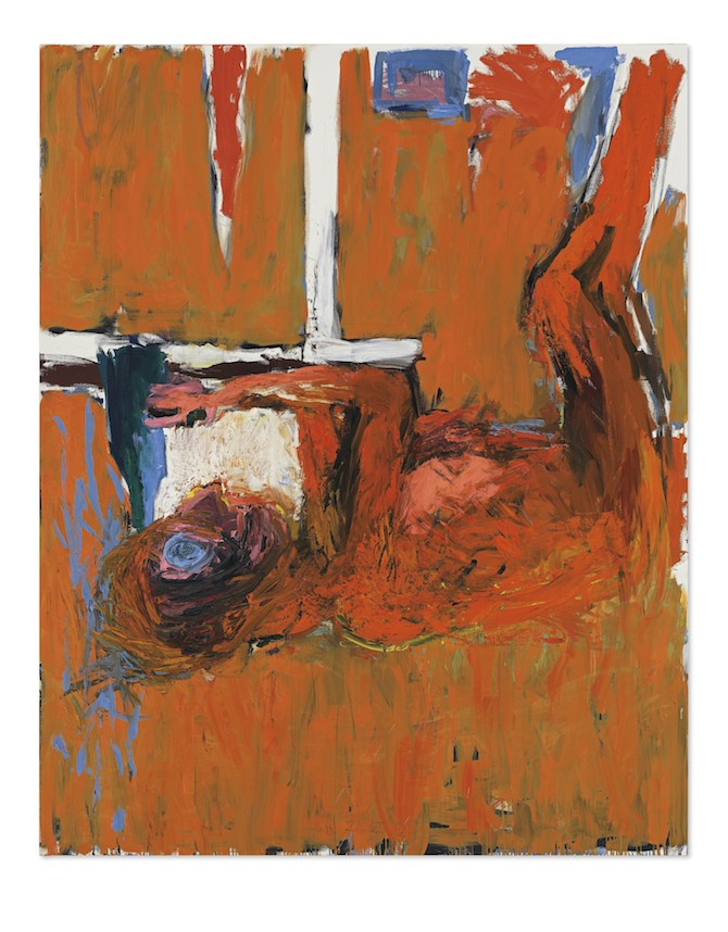 Georg Baselitz (b. 1938) Gebeugter Trinker [Bent Drinker] signed with the artist's initials and dated 'G.B. 20. XII 82' (lower edge); signed again, titled and dated again 'gebeugter Trinker 20. XII. 82 G. Baselitz' (on the reverse) oil on canvas 98 ½ x 78 ¾ in. (250 x 200 cm.) Painted in 1982