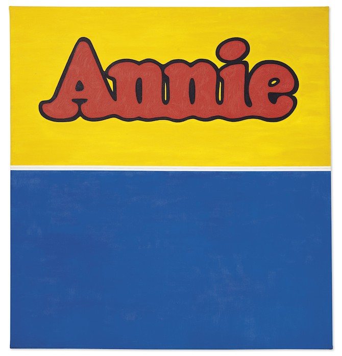 Ed Ruscha (b. 1937) Annie oil and graphite on canvas 71 ½ x 66 ¾ in. (181 x 169.5 cm.) Executed in 1962