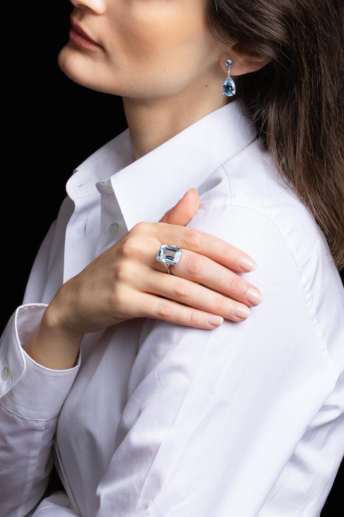 Foto 3 Pisa Diamanti: anello in oro bianco con una acquamarina
