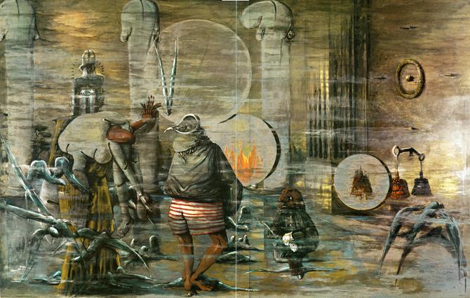 Della perdita o del ritrovamento, 1975, smalto e colori metallici su tavole di legno, cm 300 x 460_Collezione privata