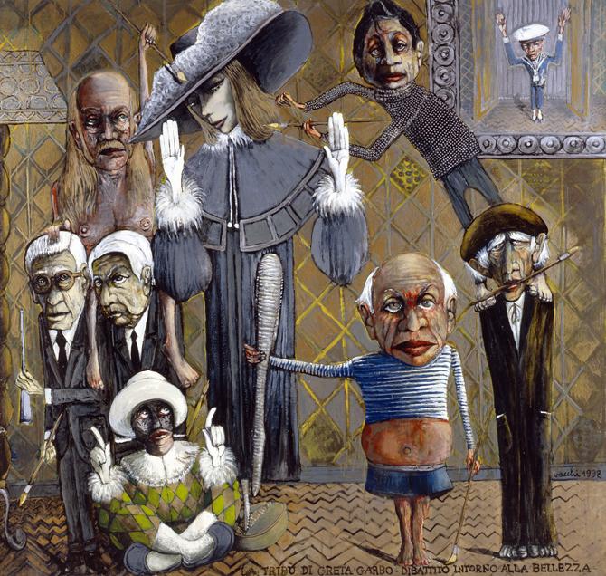 La tribù di Greta Garbo. Dibattito intorno alla bellezza, 1998, smalto su tela, cm 218 x 200