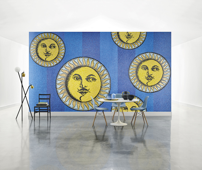 Bisazza Mosaico Collection_pattern SOLI A CAPRI BLUE_design Fornasetti