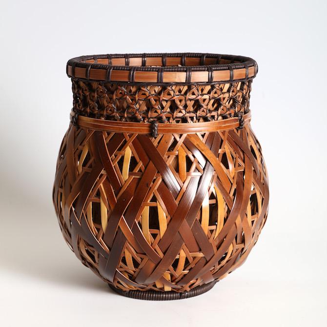 Thomsen Gallery Shiraishi Hakuunsai II Bamboo basket for the ikebana flower arrangement 1918-2012 Height 27.5cm Width 26.5cm Depth 25.5cm